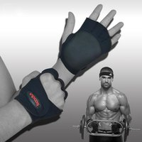 Wholesale 2016 Fitness Half Finger Gloves Weight Lifting Gym Workout Training Wrist Wrap Strap Men Women Sport Gloves