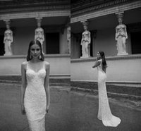 Wholesale Custom Made Bohemian Wedding Dresses Mermaid Berta Bridal Spaghetti Backless Court Train Long Garden Wedding Gown Luxury Sheath Bride Dress