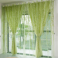 Wholesale 1Pcs Green Willow Sheer Curtain For Living Room Window Blackout Curtains Home Decor Draperies Drapes Green Organza Tulle Curtain