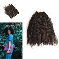 Wholesale Afro Kinky Curly Clip In Human Hair Extensions Pc Natural Peruvian African American Clip In Human Hair Extensions Clip Ins