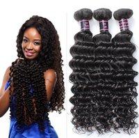 Wholesale 100 Unprocessed Brazilian Hair Deep Wave Natural Color Humen Hair Fsahion Female Weft inch No Tangle Shin Hair For Black Hair