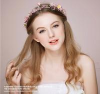 2015 Новый DIY Подгонянные розовый цветок Tiaras Garden Fairy Головной убор Свадебные цветочные гирлянды Романтические Свадебные аксессуары для невесты для невесты