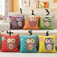 baby pillow covers - Candy Color Owl Cushion Covers Styles X45cm Linen Cotton Smile Blink Eyes Pillow Cases Baby Bedroom Sofa Decor Kids Favor Gift