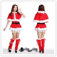 Wholesale DHL Christmas Performance Dresses women Christmas Costumes Cosplay Dresses Santa Claus Dress Up Christmas Wear