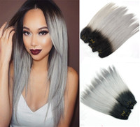 Wholesale 4pcs g Ombre Grey Human Hair Extensions Straight Two Tone T1B Grey Silver Hair Weaves for braiding for glue
