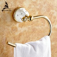 Wholesale Towel Ring Solid Brass Copper Golden Finished Bathroom Accessories Products Towel Holder Towel bar