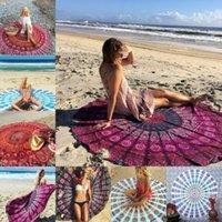 Wholesale 2016 Summer cm Round Beach Towel Fire Peacock Mandala Chiffon Beach Swim Towels Bohemia bain para playa toallas Bedding Outlet