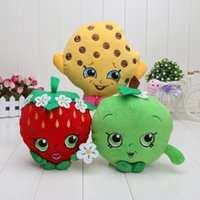apple accessories shop - Sale Fruit Shop Plush Toys combition Strawberry Apple Cookies Donuts doughnut Muffin Stuffed shopping Plush doll Toys