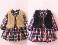 berber vest - 2016 Autumn New Girl Sets berber Fleece Vest Plaid Long Sleeve Thick Dress Fashion Outfits Children Clothing