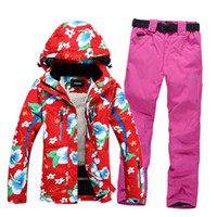 Wholesale Fashion Ski Suit Set Breathable Skiing Suit for Women Female Snowboard Jacket Pant Outdoor Winter Suit Waterproof Clothes