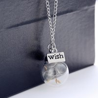 Wholesale Hot sale Real Dandelion Jewelry Crystal Glass Ball Dandelion Necklace Long Strip Leather Chain Pendant Necklaces For Women