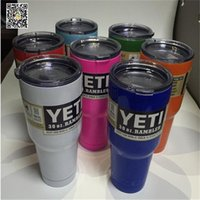 Wholesale YETI coolers cuos mugs oz yeti rumbler oz tumbler oz closter can oz lowball cooler with YETI original same logo also YETI cup straw