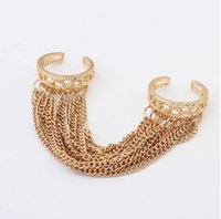 Wholesale JZ274 European and American fashion jewelry personalized tassel chain double finger ring female ring G