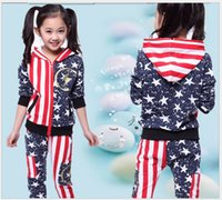 Girl american flag clothes - 2016 New Spring Autumn Children Sports Suit Boys And Girls American Flag Hoodies Pants Two Piece Suits Kids Clothing Sets Child Casual Set