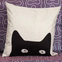 babies backrests - Hot Selling Simple Style Cartoon Cute Hide And Seek Cat Linen Decorative Throw Pillow Home Baby Room Backrest Cushion