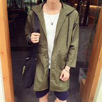 Wholesale Fall New autumn japan style casual thin jacket men loose type long trench coat men with hooded men s clothing size m xl FY4