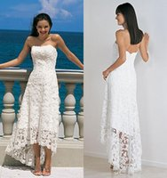 Wholesale Cheap Simple White Lace Wedding Dresses Short Asymmetrical Sexy Strapless Backless Beach Summer Bridal Gowns New Popular High Low Skir