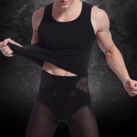 Wholesale New Men Muscle Fitted Body Shaper Boy Tight Stretch Vest Shirt Shapewear Casual Slimming Underwear Freeshipping