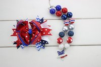 Beaded Necklaces necklace chunky bead - 2016 th of July Necklace with ribbon hairbow set Red White Blue Rhinestone five pointed star Necklace Chunky Necklace Bubblegum Bead