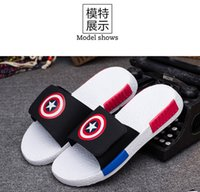 america slippers - Hot Sale Summer Sandals Captain America Hiphop Shoes For Men Breathable flipflops slippers Beach Sandals sandalias hombre