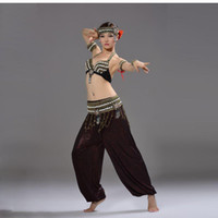 bloomers for women - Performance Tribal Dance Costume for Women Outfit Conch Shell Beads Metal Chain Bloomers Pants Set Bra Belt Belly Dance