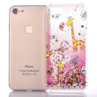 apples monkey - Iphone plus Liquid glitter case quicksand case covers for Samsung S7 S7edge S6 S6edge S5 Giraffe Monkey printing shining cover case