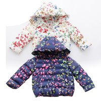 Wholesale Korean Children Winter Jackets Girls Cotton Padded Jacket with Hoodies Gloves Butterfly Printed Baby down Coats