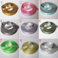 Wholesale quot mm Color Glitter Metallic Ribbon Wedding Party Webbing Decoration Gift Ribbon Mix Yards yards rolls