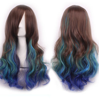 Wholesale Promotion long wavy ombre color ladies synthetic hair wig rainbow color japanese kanekalon fibre anime cosplay wig peruca
