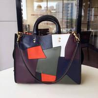Wholesale 2016 new Real Leather Patchwork Bags Casual Women Handbag Tote Shoulder bag famous designer hobo bag