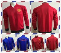 Wholesale Cheap Thailand Blue Red Manchester clothes out tracksuit coat N98 Football Shirt Training soccer Jacket Jersey