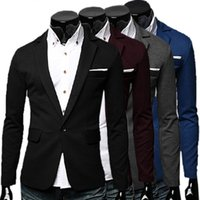 Wholesale Wedding Suits For Men Male Slim Fit Blazers Jackets Outwear One Button Groom Formal Coats Good Quality Navy blue Grey Black Wine Red