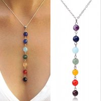 Wholesale 7 Chakra Beads Pendant Necklace Women Yoga Reiki Healing Balancing Necklaces