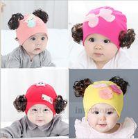 baby blue wig - Baby Wig Beanies Bowknot Flower Skull Caps Newborn Cartoon Print Hats Fashion Street Caps Princess Sweet Hats Kids Accessories Gifts B1108
