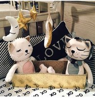 baby bedding separates - 2016 Baby Sweet Toys cartoon animals Lion Cat Shape Dolls girl boy Room Bed Decoration X33cm Birthday Christmas Gift