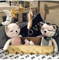 al por mayor juguetes para niñas navidad-2016 dulces del bebé Juguetes animales de dibujos animados del gato león niño muñecas Forma chica habitación de cama Decoración 16X33cm cumpleaños regalo de Navidad