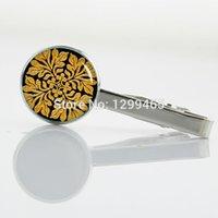 Wholesale Clip Tiles - Decoration male ancient English tile Tie pin shiny bright gold leaf tile Tie Clip art picture Glass Cabochon Dome Tie Bar T 657