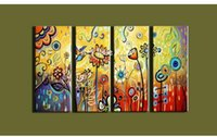 acrylic paint on walls - canvas art Modern abstract vintage acrylic colorful oil painting on canvas wall picture for living room decoration