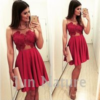 Wholesale Short Dresses Cheap Red Cocktail Party Dresses Real Photos Cute A Line See Through Jewel Lace Appliques Knee Length Homecoming Dresses