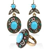 Verano Estilo de Bohemia resina azul del chapado en oro pendientes colgantes larga para el conjunto de joyas pendiente de las mujeres + Anillo Bule Cristal Turquesa