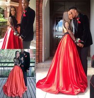 Wholesale Two Pieces Red Black K16 African Prom Dresses A Line Long Sleeves Sexy Back Plus Size Girls Graduation Formal Evening Party Gowns