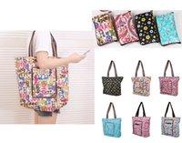 Wholesale Fashion Printed Large Capacity Waterproof Environmentally Friendly Folding Canvas Shopping Bag Multifunction Handbags