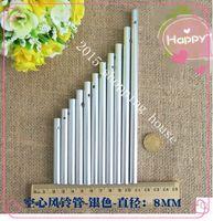 Acheter Des tubes métalliques creux-30pcs 14cm diamètre de tube d'argent 8MM DIY Handmade matériau Campanula métal artisanat tube creux en matière d'aluminium