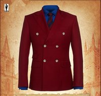 Wholesale 2016 UR Burgundy Gentlemen Handmade Plus Size Costume Homme Blazer Tuxedo Wedding Men Custom Made Men Suit Jacket Clothes