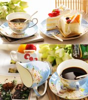 Wholesale 15 head of European bone china coffee set English afternoon tea red coffee cup dish Ceramic Teapot Set