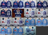 al por mayor quebec nordiques-Cord NHL Quebec Nordiques # 19 Joe Sakic / 21 Forsberg / 26 Stastny / 13 Sundin / 32 BROUSSEAU Blanco Drak Azul Claro Hockey Jersey Cosido Mix Orden