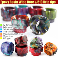 able covers - Wide Bore Mouthpiece Epoxy Resin Drip Tip Cover Caps Battle Cap AV able Kennedy24 Roughneck TFV8 Limitless RDTA e cigs Mods RDA Tips