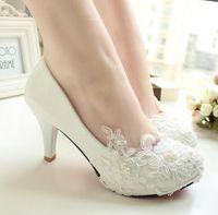 Wholesale Women Handmade lace wedding shoes white bridal shoes bridesmaid shoes banquet dress shoes women pumps cm large size