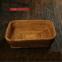 autumn gift baskets - Vietnam autumn vine basket rattan wicker Candy Box basket Handicraft candy basket storage Christmas gifts Square storage box fruit plate