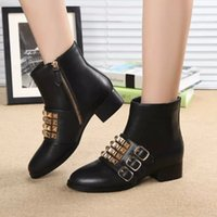 avant garde dresses - Winter boots leather zipper boots rivets buckle new avant garde fashion boots with thick black dress shoes special offer